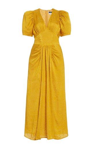 Alma Puff Sleeve Broderie Midi Dress