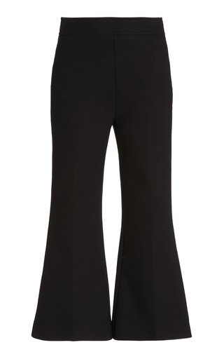 Ponte Cropped Flared-Leg Pants