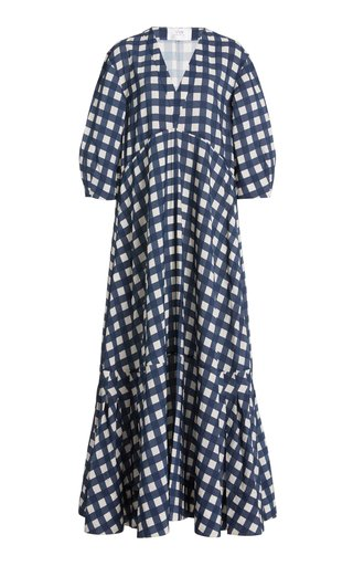Puff-Sleeve Gingham Faille Maxi Dress