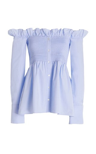 Off-The-Shoulder Smocked Oxford Cotton Shirt