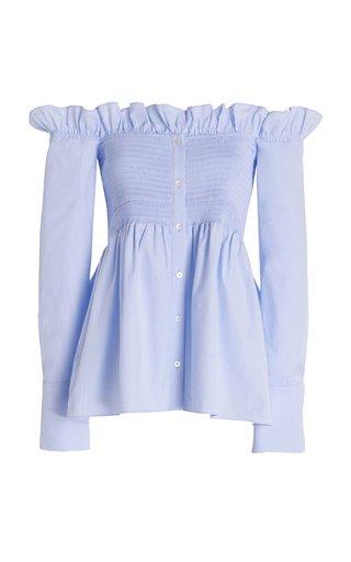 Off-The-Shoulder Smocked Oxford Cotton Shirt
