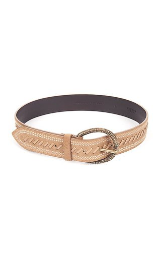 Stitched Suede Calf Leather Belt