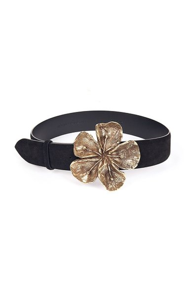 Hibiscus Metal And Suede Calf Leather Belt