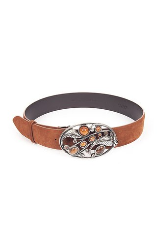 Stone And Leaf Suede Calf Leather Belt