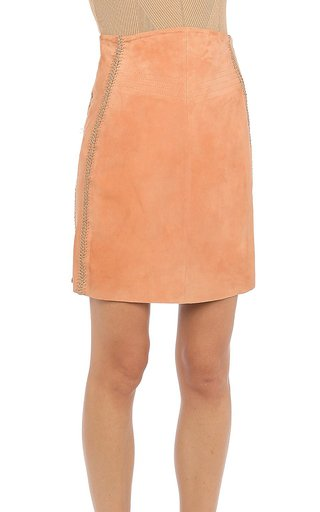 Embroidered Suede Mini Skirt