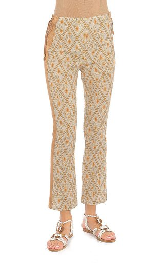 Hibiscus Cage Printed Cotton Skinny Cropped Pants
