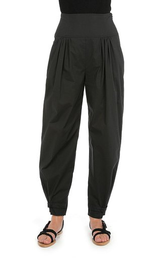 Pleated Cotton-Poplin Tapered Pants