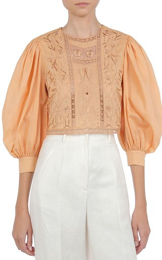 Hand-Embroidered Cotton Blouse