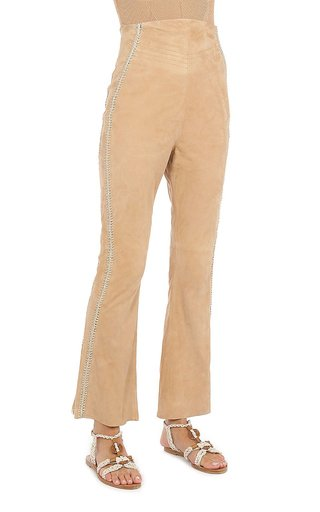 Suede Straight-Leg Cropped Pants