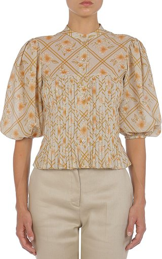 Hibiscus Cage Printed Cotton Pleated Blouse