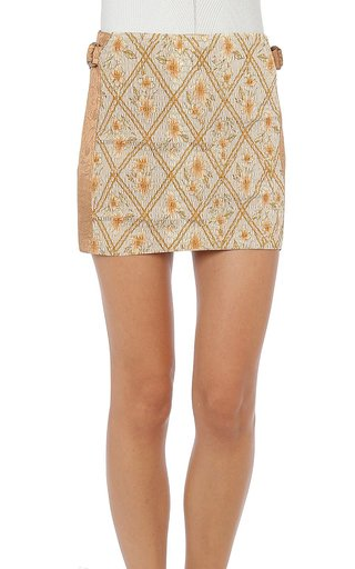 Hibiscus Cage Printed Cotton Smocked Skirt