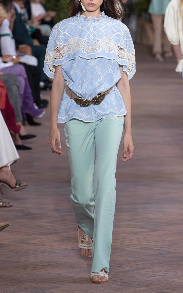 Embroidered Cotton-Chambray Oxford Blouse