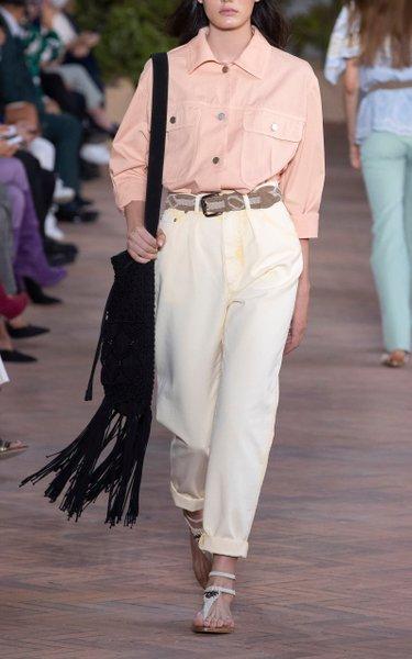 Garment Dyed Drill Straight-Leg High-Rise Jeans