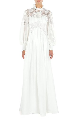 Pleated Silk-Lace Gown