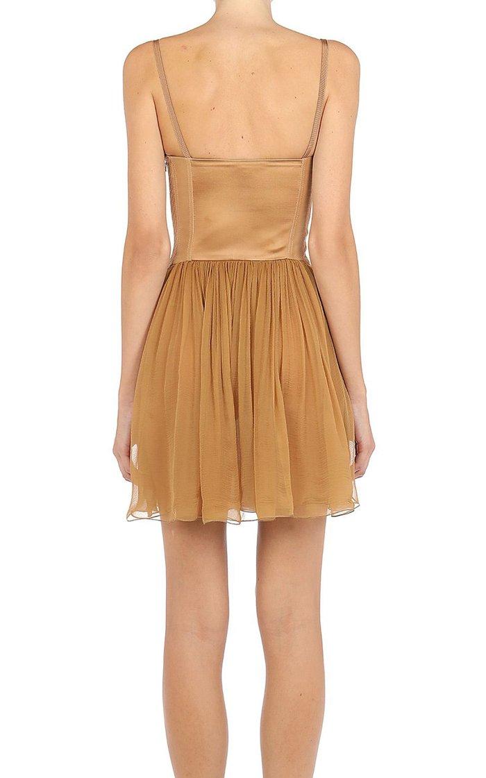 Silk-Chiffon Bustier Mini Dress