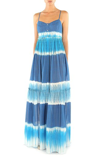 """I Love Summer"" Tie Dyed Tiered Cotton Dress"