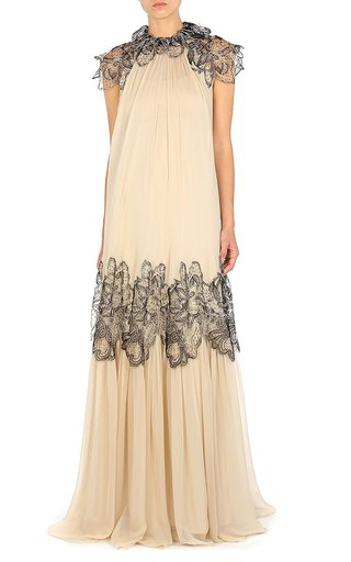 Leaf-Accented Chiffon Gown