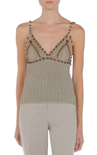 Bead-Embellished Crocheted Tank Top