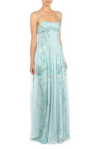 Hibiscus Rampage Floral-Printed Chiffon Slip Gown