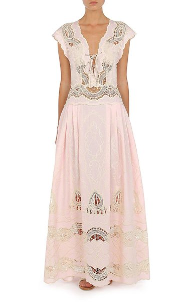 Lace-Embroidered Chambray Gown