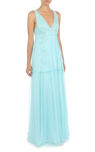 Lace-Trimmed Silk Gown