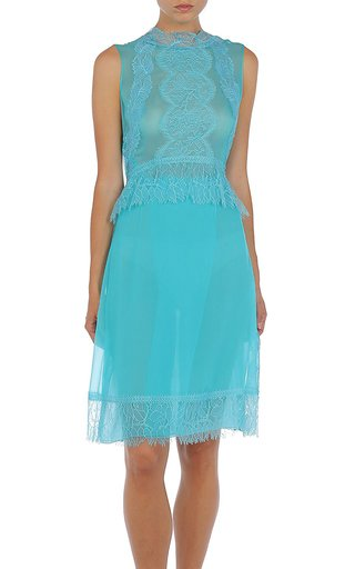 Lace-Trimmed Silk Dress