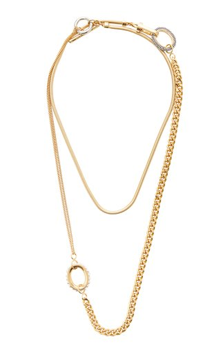 Athena Convertible Crystal-Embellished 12K Gold-Plated Necklace
