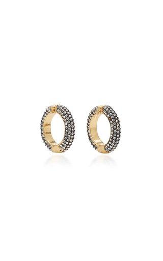Lili Hematite, Crystal 12K Gold-Plated Ear Cuffs