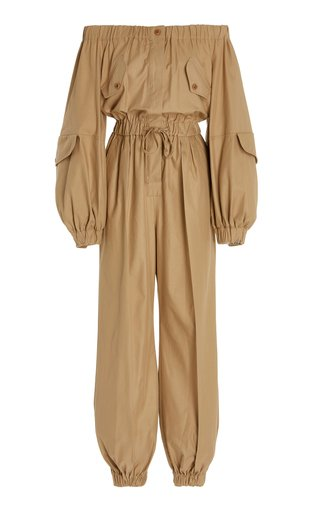 Romana Cotton Gabardine Off-The-Shoulder Jumpsuit