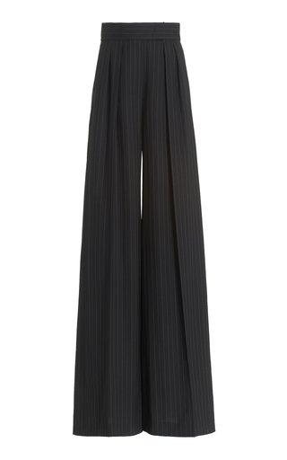 Orsola Pleated Pinstripe Wool Wide-Leg Pants