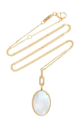 Slim 18K Gold Mother of Pearl Oval Locket