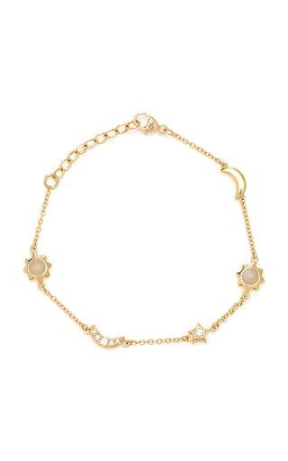 Sun, Moon, and Stars Station 18K Gold, Diamond and Moonstone Bracelet