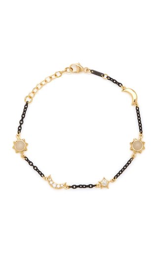 Sun, Moon, and Stars Station 18K Gold, Black Steel and Diamond Bracelet