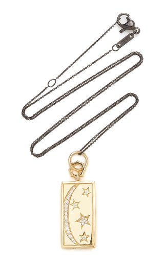 Sun, Moon, and Stars 18K Gold and Diamond Charm Necklace