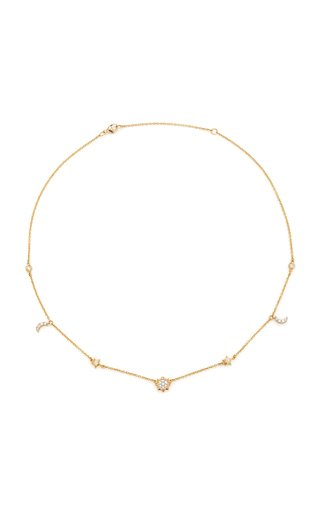 Sun, Moon, and Stars Station 18K Gold and Diamond Necklace