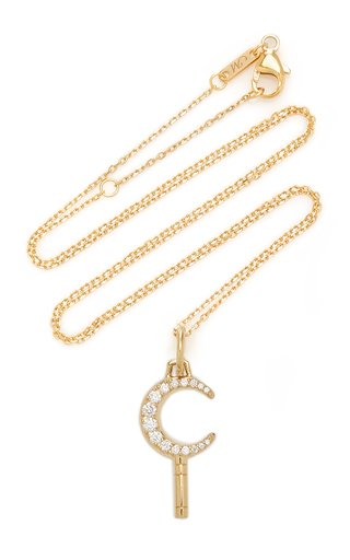 Crescent Moon Pocket Watch Key 18K Gold and Diamond Necklace