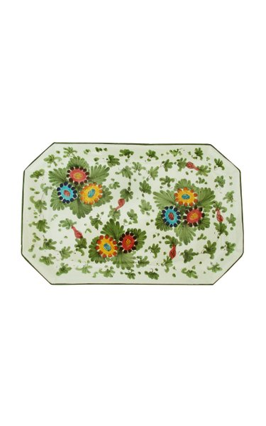Painted Ceramic Rectangular Tray