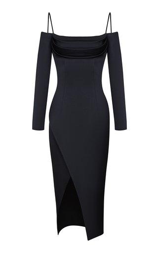 Cold-Shoulder Satin Midi Dress