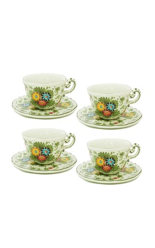 Fiorito by MODA DOMUS, Set-Of-Four Handpainted Ceramic Teacup and Saucer