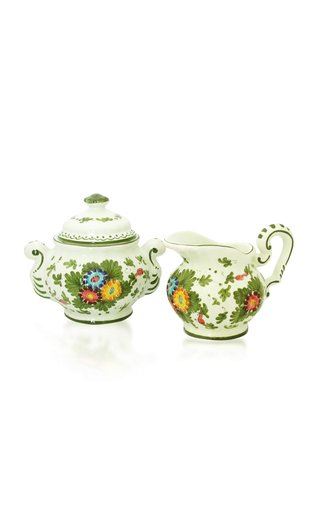 Fiorito by MODA DOMUS, Handpainted Ceramic Cream and Sugar Set