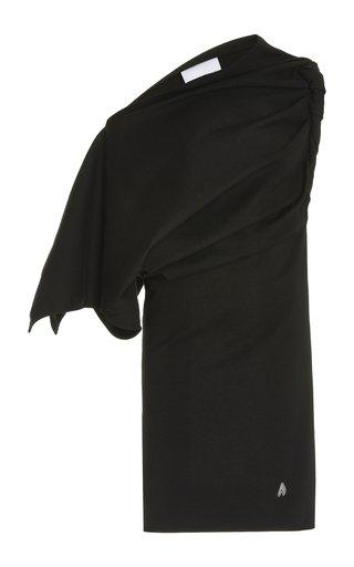 Asymmetric Twisted Cotton Mini T-Shirt Dress