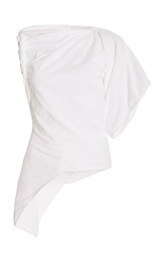 Asymmetric Twisted Embroidered Cotton Top