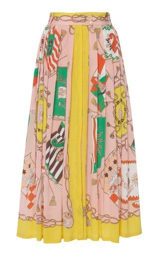 Printed Silk Midi Skirt