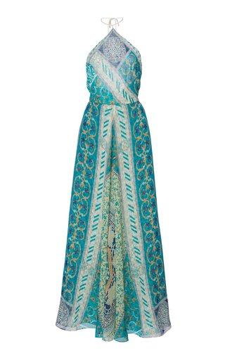 Printed Silk Maxi Halter Dress