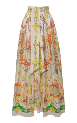 Printed Cotton-Blend Skirt