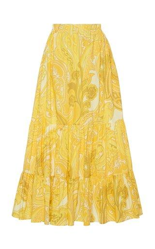Tiered Cotton-Blend Maxi Skirt