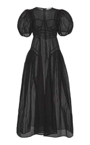 Hollis Puffed-Sleeve Organza Gown