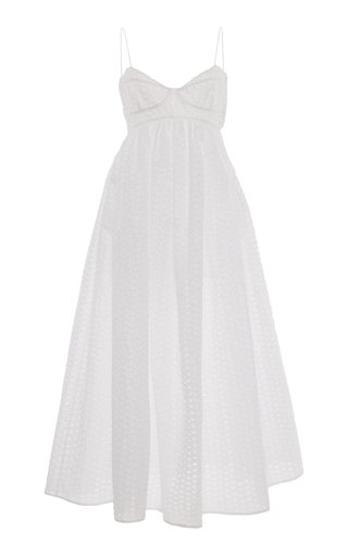 Heather Pleated Broderie Midi Dress