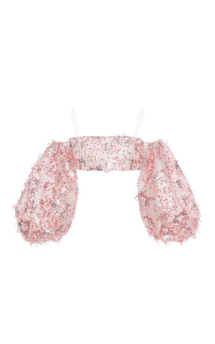 Hosta Sequined Cropped Chiffon Top