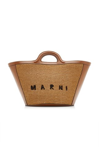 Tropicalia Leather-Trimmed Raffia Tote Bag